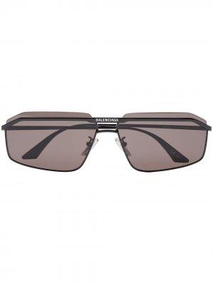 Солнцезащитные очки в прямоугольной оправе с двойным мостом Balenciaga Eyewear. Цвет: черный