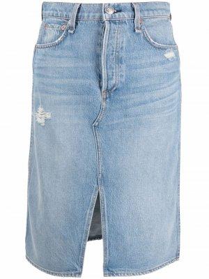Джинсовая юбка с эффектом потертости Rag & Bone. Цвет: синий
