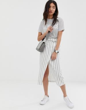 Льняная юбка миди в полоску с присборенной талией -Мульти ASOS DESIGN
