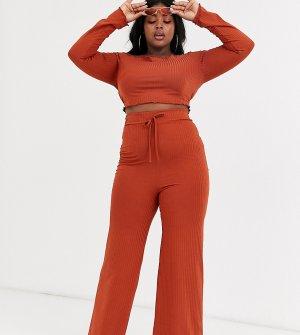Расклешенные брюки в рубчик -Красный Fashionkilla Plus