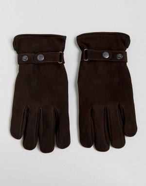 Коричневые замшевые перчатки French Connection. Цвет: коричневый