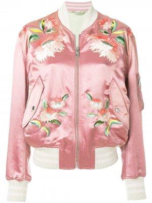 Куртка-бомбер с цветочной вышивкой Gucci. Цвет: розовый