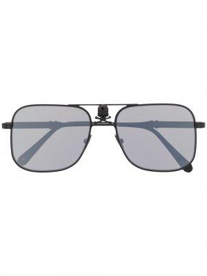Солнцезащитные очки в квадратной оправе с декором Skull Philipp Plein. Цвет: черный