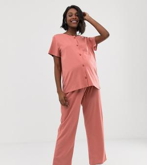 Костюм из рубашки на пуговицах и брюк ASOS DESIGN Maternity-Розовый Maternity