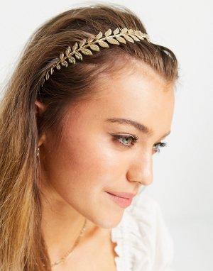 Золотистый ободок для волос с листиками ASOS DESIGN