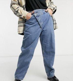 Синие выбеленные джинсы в стиле ретро с оригинальным поясом COLLUSION Plus x014-Голубой