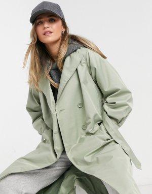 Плащ-дождевик шалфейно-зеленого цвета Louisa-Зеленый цвет Threadbare