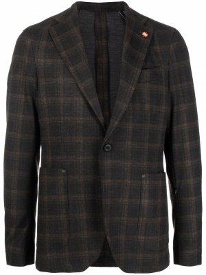 Однобортный пиджак в клетку Manuel Ritz. Цвет: черный