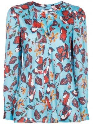 Блузка с длинными рукавами и цветочным принтом Derek Lam 10 Crosby. Цвет: синий
