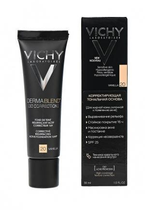 Тональная основа Vichy Dermablend корректирующee 3d с высоким покрытием для жирной кожи, склонной к появлению акне, тон 20, 30 мл. Цвет: бежевый