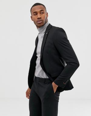 Черный однобортный приталенный пиджак Avail London