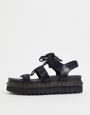 Черные сандалии на массивной подошве с переливающимся эффектом -Черный Dr Martens