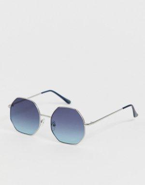 Восьмиугольные солнцезащитные очки в серебристой оправе -Серебряный AJ Morgan