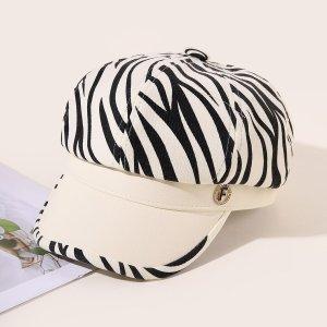Кепка в полоску зебры для мальчиков SHEIN. Цвет: черный и белый