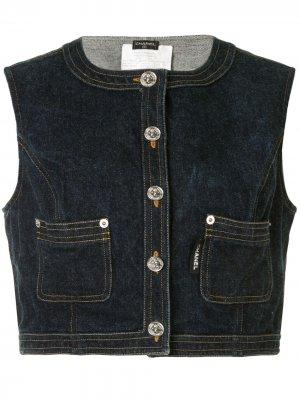 Укороченный джинсовый топ без рукавов Chanel Pre-Owned. Цвет: синий