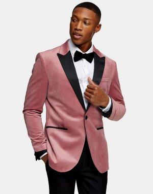 Розовый бархатный однобортный пиджак зауженного кроя -Розовый цвет Topman