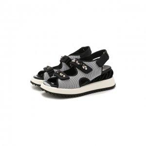 Текстильные сандалии Le Silla. Цвет: чёрно-белый