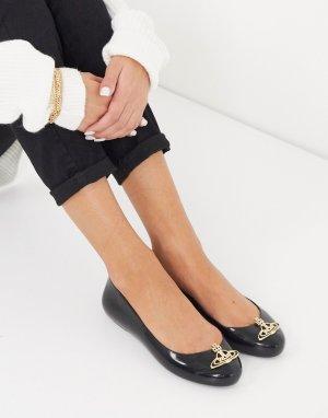 Черные балетки с логотипом -Черный Vivienne Westwood for Melissa