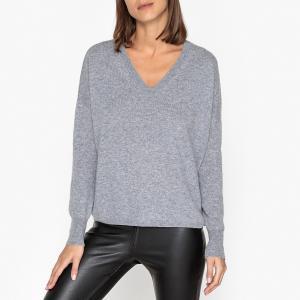 Пуловер кашемировый с V-образным вырезом LA BRAND BOUTIQUE COLLECTION. Цвет: серый