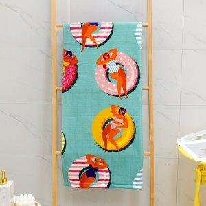 Ванное полотенце с принтом фигуры SHEIN. Цвет: многоцветный
