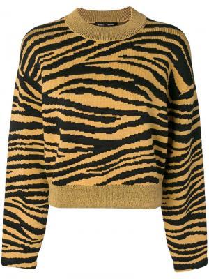 Свитер с жаккардовыми тигровыми полосками Proenza Schouler. Цвет: желтый