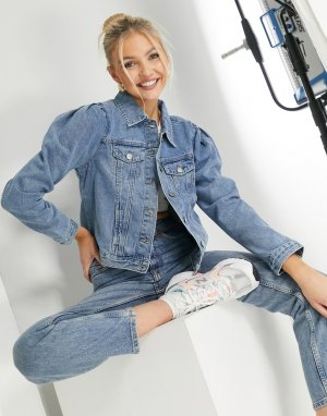 Голубая джинсовая куртка с объемными рукавами -Голубой Urban Bliss
