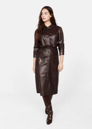 Кожаная юбка с пуговицами - Jamie Mango. Цвет: шоколадный