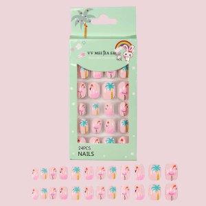 24шт Детские накладные ногти с узором фламинго SHEIN. Цвет: многоцветный