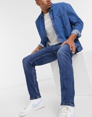 Синие джинсы прямого кроя -Синий Bershka