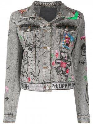 Джинсовая куртка с принтом граффити Philipp Plein. Цвет: серый