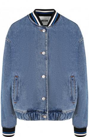 Джинсовая куртка с контрастным воротником и манжетами MSGM. Цвет: синий