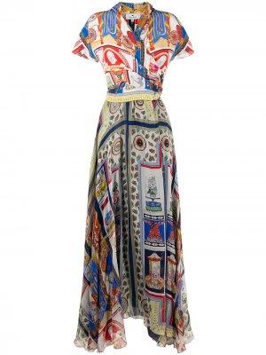 Платье с принтом и запахом Etro. Цвет: синий
