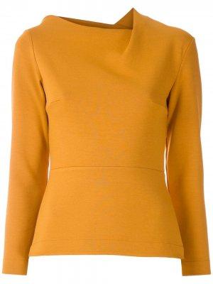 Блузка с воротником асимметричного кроя Gloria Coelho. Цвет: желтый