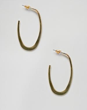 Золотистые овальные серьги-кольца ASOS DESIGN. Цвет: золотой