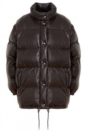 Объемная кожаная куртка Prada. Цвет: черный