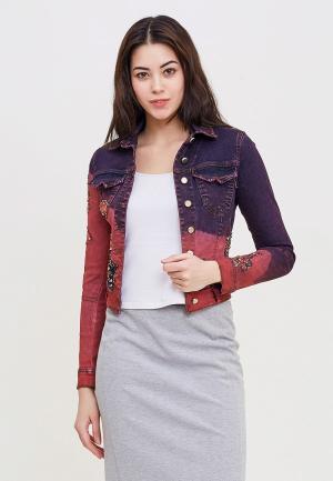 Куртка джинсовая DSHE. Цвет: бордовый
