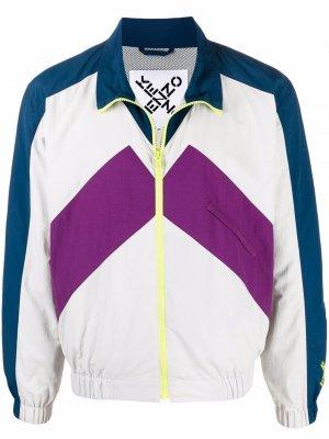 Colourblock zipped track jacket Kenzo. Цвет: белый