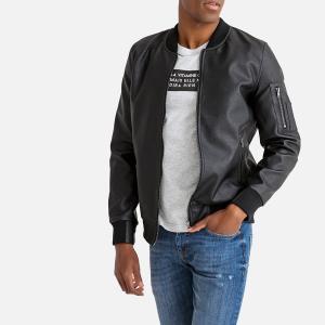 Куртка-бомбер из искусственной кожи LA REDOUTE COLLECTIONS. Цвет: черный