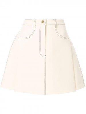 Мини-юбка с декоративной строчкой Dion Lee. Цвет: белый