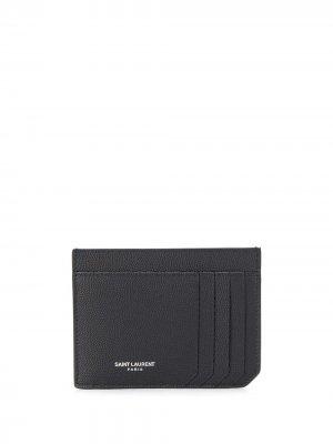 Картхолдер ID с тисненым логотипом Saint Laurent. Цвет: черный