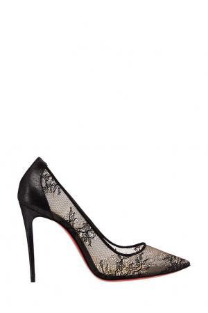 Черные туфли с кружевом Lace 554 100 Christian Louboutin. Цвет: черный