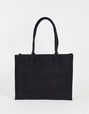 Черная структурная сумка-тоут из плотной парусины с внутренним кошельком -Черный цвет ASOS DESIGN