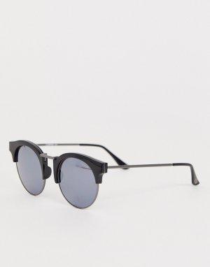 Черные солнцезащитные очки в стиле ретро с серебристыми дымчатыми стеклами Levis-Черный Levi's