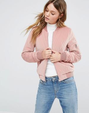 Бархатная стеганая куртка-пилот Only. Цвет: розовый