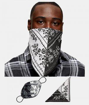 Маска для лица и бандана черно-белого цвета с принтом пейсли х Roman Kemp-Черный цвет Topman