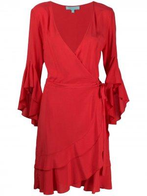 Платье мини Kirsty с оборками и запахом Melissa Odabash. Цвет: красный