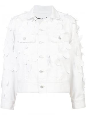 Джинсовая куртка с отделкой Oscar de la Renta. Цвет: белый