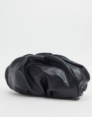 Черный клатч со сборками ASOS DESIGN