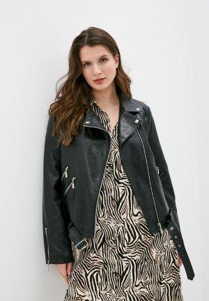 Куртка кожаная Chic de Femme. Цвет: черный