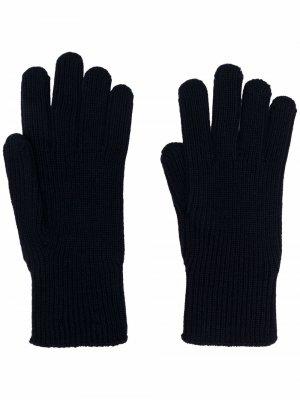 Перчатки в рубчик с нашивкой-логотипом Moncler. Цвет: синий